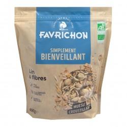 Photo Muesli croustillant lin-fibres 400g Bio Favrichon