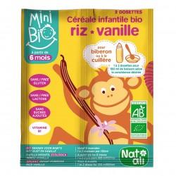 Photo Céréales infantiles Minibio riz +vanille 2x8g bio Nat-Ali
