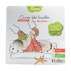 Photo Carrés bébé lavables eucalyptus biface x5 Les Tendances d'Emma