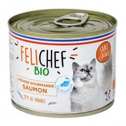 Photo Mousse gourmande chat saumon 200g bio Felichef