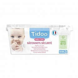 Photo Bâtonnets sécurité bébé en coton bio x50 Tidoo