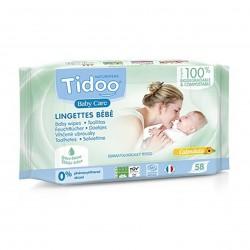Photo Lingettes bébé parfumées au calendula en fibres compostables x58 Tidoo