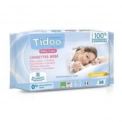 Photo Lingettes bébé sans parfum au calendula en fibres compostables x58 Tidoo