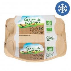 Photo Boîte de 6 oeufs frais moyen à gros calibre 53 à 73 bio Grain de Nature