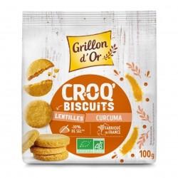 Photo Croq'biscuits lentilles et curcuma 100g bio Grillon d'Or