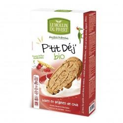 Photo Biscuits P'tit Déj' baies et graines de chia vegan 190g bio Moulin du Pivert