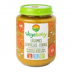 Photo Pot légumes-lentilles corail 190g bio Vegebaby