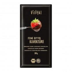 Photo Chocolat à pâtisser noir 70% vegan 200g bio Vivani