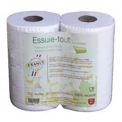 Photo Essuie-tout blanc 100% recyclé 200 feuilles x2 Ecolabel Papeco