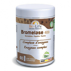 Photo Bromelase 400 (bromelaïne - papaïne - taurine) 60 gélules Be-Life