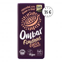 Photo Chocolat Cru Fondant Vanille-Coco 35g Bio Ombar