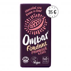 Photo Chocolat Cru Fondant Framboise-Coco 35g Bio Ombar