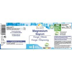 Etiquette Magnésium magnum  60 gélules Be-Life