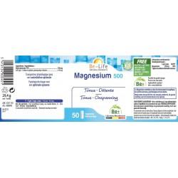 Etiquette Magnésium 500 50 gélules Be-Life