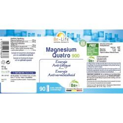 Etiquette Magnesium quatro 900 60 gélules Be-Life